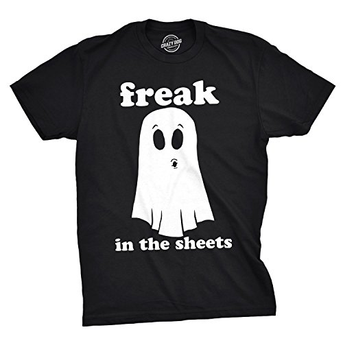 Mens Freak in The Sheets Tshirt Funny Bedsheet Ghost Halloween Tee for Guys (Black) - XL]()