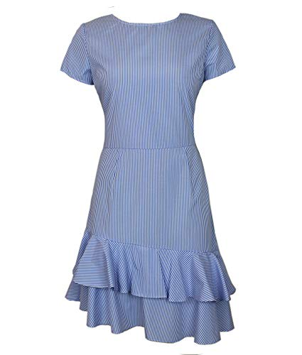 Love? Ady Fit & Flare Asymetrical Ruffle Hem Dress in Blue & White Stripe Cotton Fabric with Cap Sleeves Jewel Neckline, Blue/White, Size S ()