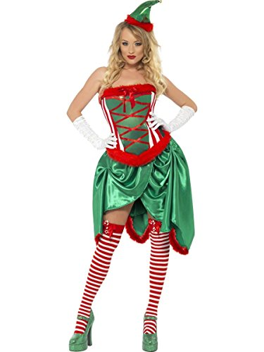 Smiffy's Elf Costume (Fever Women's Elf Burlesque Costume, M, Green)