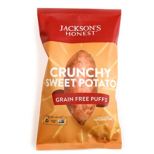 (Jackson's Honest Puffs, Grain Free and Gluten Free, Cooked in Organic Coconut Oil, Non GMO Curls, Doodles, Snacks, 4oz Bag, 12 Pack (Crunchy Sweet Potato))