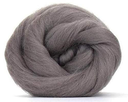 (4 oz Paradise Fibers 64 Count Dyed Pewter (Gray) Merino Top Spinning Fiber Luxuriously Soft Wool Top Roving for Spinning with Spindle or Wheel, Felting, Blending and Weaving)