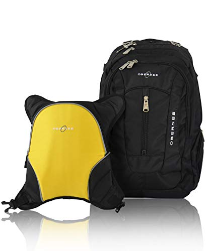 Bern Diaper Backpack, Shoulder Baby Bag, With Food Cooler, Clip to Stroller (Black/Yellow)