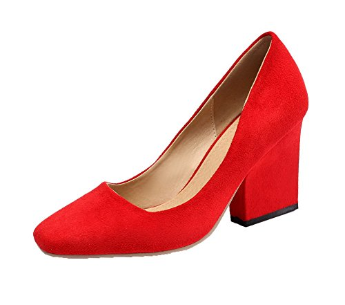 VogueZone009 Damen Rein Blend-Materialien Hoher Absatz Quadratisch Zehe Ziehen auf Pumps Schuhe Rot