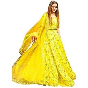 Ghaludi Fab Women's Silk Semi-stitched Lehenga Choli (sr4_Yellow_Free Size)