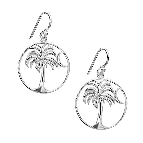 Tisoro Sterling Silver Palm Tree with Moon Drop Earrings - 100% Hypoallergenic & Allergy Free