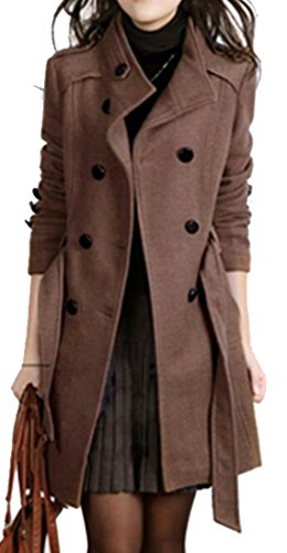 (Oberora-Women Winter Trench Jacket Double-Breasted Wool Blend Pea Coat with Belt Coffee S)