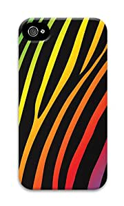 iPhone 4 Case,iPhone 4S Case,VUTTOO iPhone 4 Cover With Photo: Dark Rainbow Zebra For Apple iPhone 4/4S - PC Hard Case