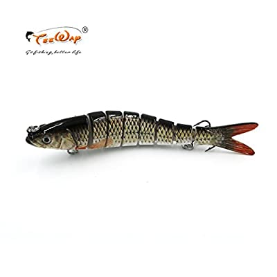 Jammas Lifelike Fishing Lure 8 Segment Swimbait Crankbait Hard Bait Slow 30g 14cm with 6# Fishing Hooks Fishing Tackle Fishing Wobblers - (Color: Color A) : Garden & Outdoor