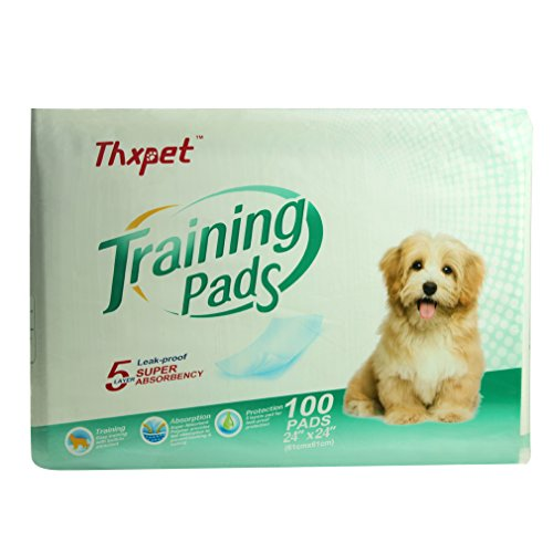 Thxpet Dog Pee Pads Super Absorbent 100 Count Puppy Training Pads 24″ x 24″