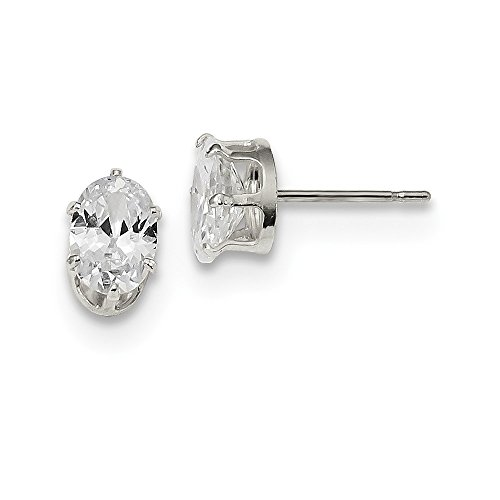 - Sterling Silver 7x5 Oval Snap Set CZ Stud Earrings