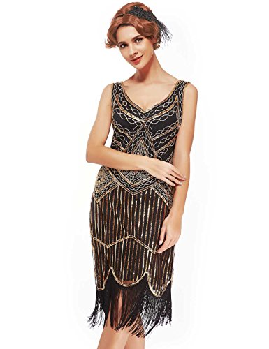 Collection Roaring 20s (Women's Roaring 20s V-Neck Gatsby Dresses- Vintage Inpired Sequin beaded Flapper Dresses (M, dark gold))