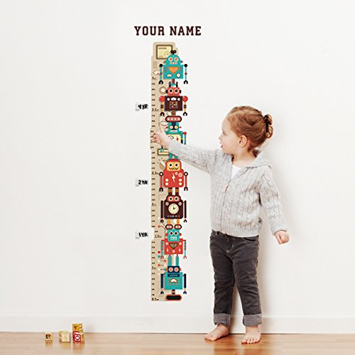 Personalized Retro Robots Growth Chart Wall Decal for Nursery, Kids Room