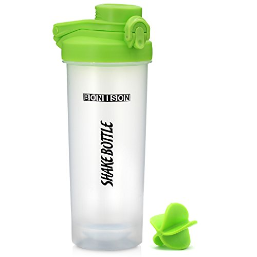 New Generation Shake Bottle Flip Top Spout With Lid Lock New Mixer Ball To Mix Protein Powder Easy Shaker Water Bottle With Handle (240Z-Green)