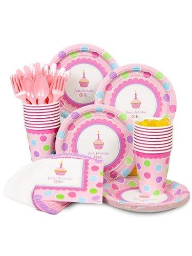 Cupcake 1st Birthday Girl Standard Kit Serves 16 Guests, Health Care Stuffs