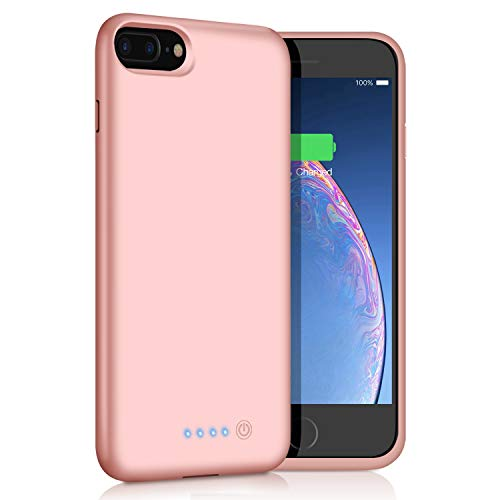 Xooparc Battery Case for iPhone 8 Plus/7 Plus, [8500mAh] Protective Portable Charging Case Rechargeable Extended Battery Pack for Apple iPhone 8 Plus&7 Plus (5.5) Backup Power Bank Cover - Rose Gold