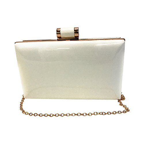 Top Faux amp; Chain Clasp Clutch Patent For Box Leather White Rectangular Women Strap With Candy wrUrq0zcW