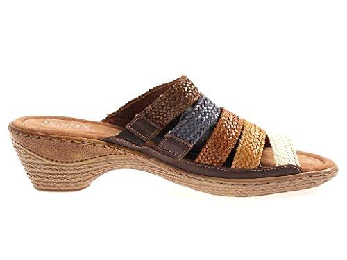 JENNY par Ara Mule chaussures en cuir pour femmes Chaussons Multicolore Sabots 4330