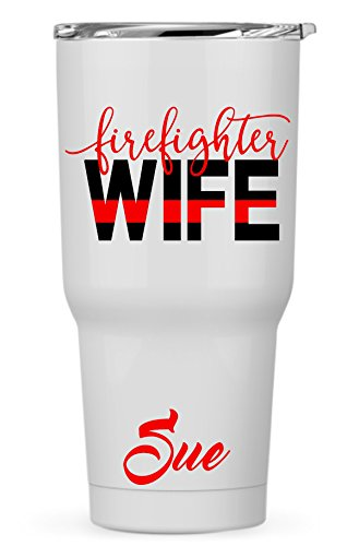 Personalized Custom Firefighter Wife Decal Sticker for Laptop Car Yeti RTIC Ozark Cooler Tumbler Cup