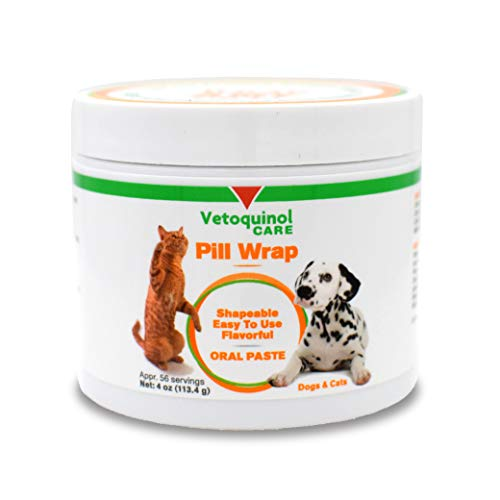 Vetoquinol Pill Wrap Treats for Dogs & Cats - 4oz, 56 servings - Hides Any Size, Shaped Pill - Moist, Flavorful & Shapeable Pill Pocket Paste - Easy-to-Swallow Masking Pill Pouch for Training & Treats Animal Shaped Dog Treats