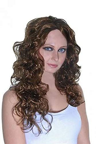My Choice Stuff Unisex Hen Party Wear Supplies lot Mens Fancy Novelty Cave and Brown Curly Wigs (Starlet Wig Brown) ()