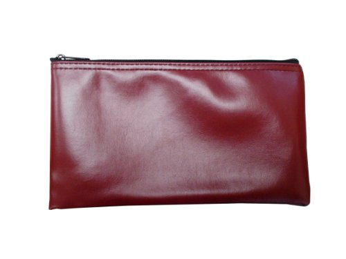 Vinyl Zipper Bags (Leatherette) Small, Compact Zippered Pouches | Portable Travel Utility | Check Wallet, Toiletries, Makeup, Cosmetics, Tools | Men, Women | Burgundy