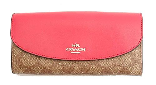 Coach PVC Signature Slim Envelope Wallet (KHAKI BRIGHT ()