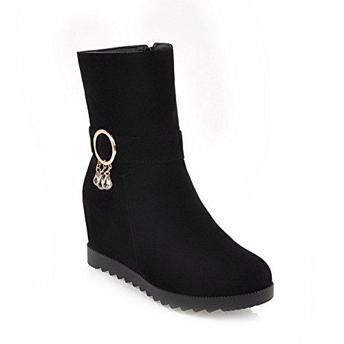 BalaMasa Womens High-Heel Zipper Flatform Heighten Inside Solid Urethane Boots ABL09690 Black zektIptR