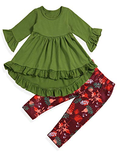 Toddler Baby Girl Clothes Ruffle Flare Tunic Dress and Floral Leggings Pants 2Pcs Outfit Set(Green, 2-3 Years) -