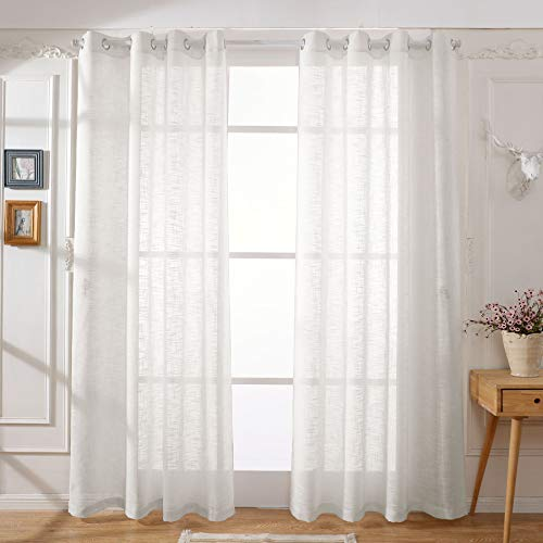 Best DREAMCITY Linen Look Semi Sheer Curtains for Bedroom - Solid Grommet Top Drapes for Living Room Durable Material (Pack of 2 Panels, W52 x L84, Beige)