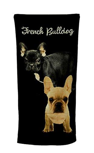 French Beach Towel - Zeckos 2 French Bulldogs Black Beach Towel 30 X 60 Inch