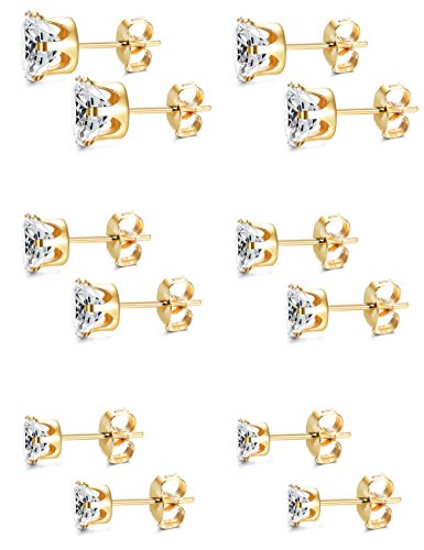 Besteel 6 Pairs Stainless Steel Round Clear Cubic Zirconia Stud Earrings Set for Men Women 3-8 mm, Gold-tone
