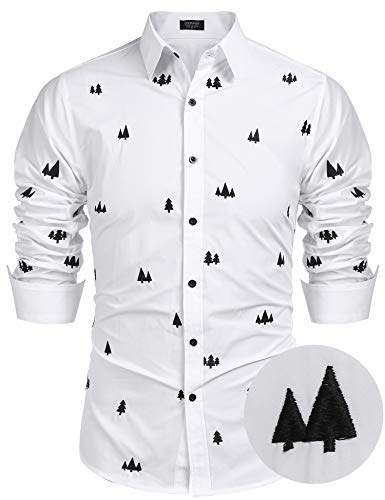 COOFANDY Mens Long Sleeve Printed Dress Shirts Casual Button Down Shirt (White L)