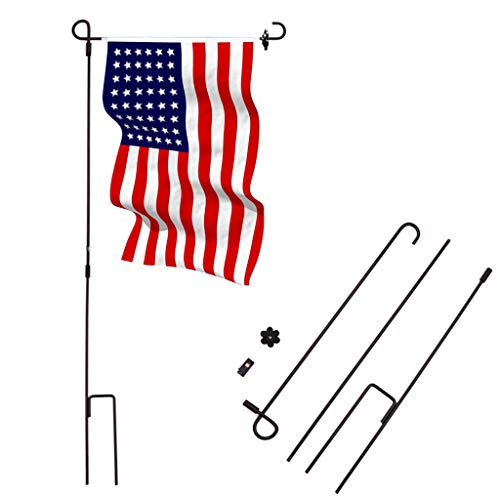 Planter Lawn (Ymeibe 2-Pack Garden Flag Poles for 12.5 x 18 inch Flags Wrought Iron Outdoor Flag Stand Holder 36.5 inch H x 16.5 inch W Excellent Display in Yard, Flower Beds, Gardens, Planters Lawn)
