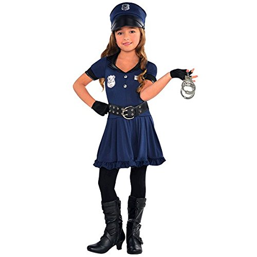 Amscan Cutie Cops & Robbers Party Policewoman Costume, Navy Blue/Black, 14.7