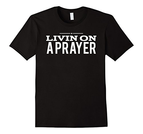 80s Mens Fashion (Mens 80s Music T Shirts | Livin on a Prayer Shirt Large Black)