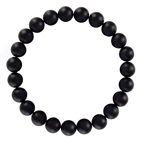 BRCbeads Gemstone Bracelets Natural Matte Black Onyx Genuine Gemstones Birthstone Handmade Healing Power Crystal Beads Elastic Stretch 8mm 7.5 Inch with Gift Box Unisex