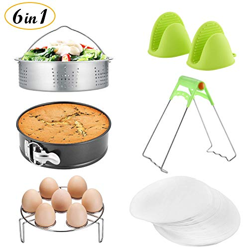 Instant Pot Accessories Set/Non-stick Springform Pan, Including Steamer Basket/Egg Steamer Trivet (Steaming Stand) / 50 Pcs Parchment Paper/Cooking Mitts/Dish Clip Fits 5,6,8Qt Instant (AP-01) by Qrooper