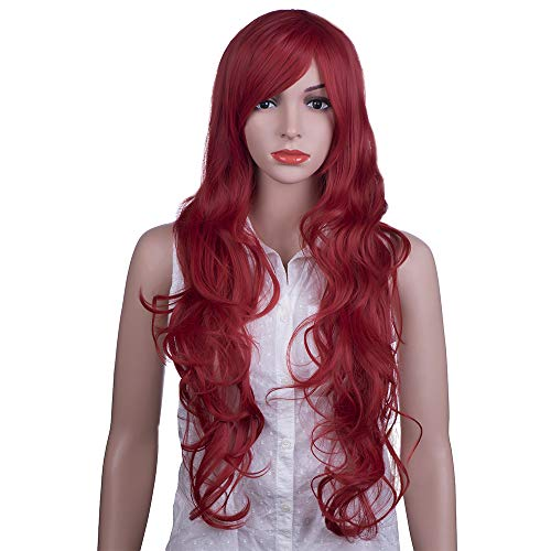 MelodySusie Cosplay Red Curly Wig - Fascinating Women Long Curly Wig with Free Wig Cap and Wig Comb (Red) -