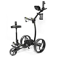 Bat-Caddy X8R Remote Control Cart with Accessory Kit: Scorecard Holder, Cup Holder, and Umbrella Holder, All Black Frame