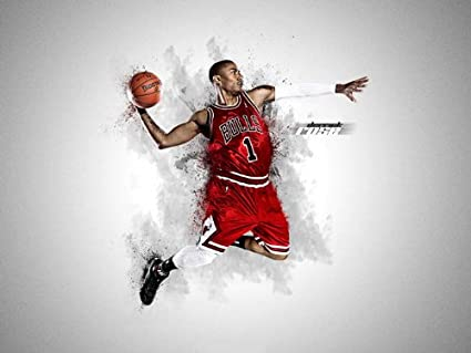 4da42e1c48deb Amazon.com: SD6899 Derrick Rose Chicago Bulls NBA Basketball Sport ...