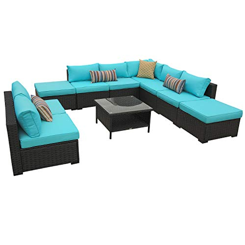 Rattaner 10 Piece Patio Sectional Furniture Set Outdoor PE Wicker Rattan Conversation Sofa with  ...