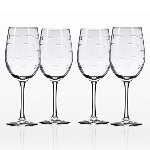Rolf Glass School of Fish White Wine Glass 12 ounces Set of 4 ()