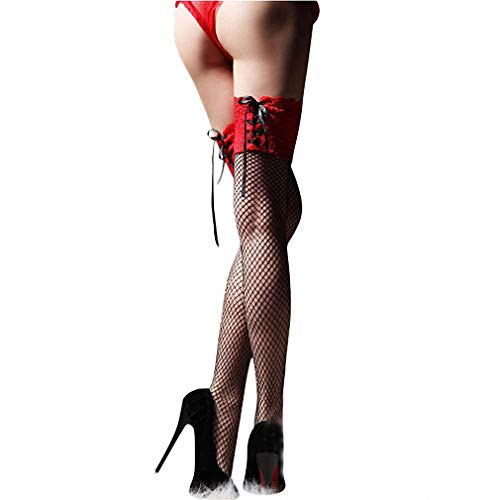 - Dawery Womens Sexy Stockings Sheer Straps Lace Fishnet Mesh Top Thigh High Sexy Lingerie Tight High Stockings 3 Color red