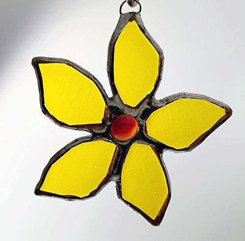 Yellow Fused Flower, Poinsettia Ornament, Suncatcher