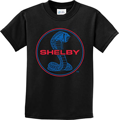 Ford Mustang Shelby Blue and Red Logo Kids Shirt, Black Large