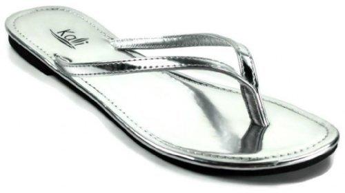 Kali Footwear Women's Twins Basic Patent Flat Thong Sandal, Silver 8