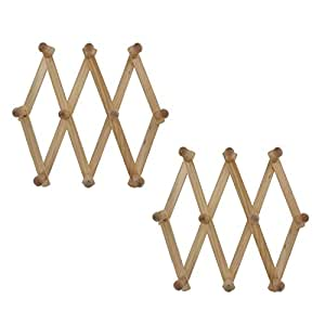 Junipers Expandable Wooden Hat Mug Coat Office Wall Rack, Pack of 2 (HT980
