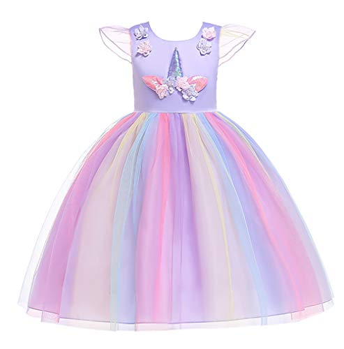 Princess Bird Costumes for Girls Party Special Occasion Dress Birthday Graduation Holiday Big Girl Dresses Ball Gown Childrens Beautiful Formal Party Prom Size L(6) 5T-6T Purple 130