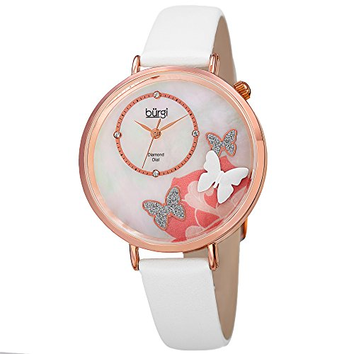 Crystal Design Watch - Burgi Skinny White Leather Women's Watch with Crystal Butterflies, Genuine Diamond Markers and Flower Designs on Mother of Pearl Dial - Classic Round Analog Quartz - BUR158WTR