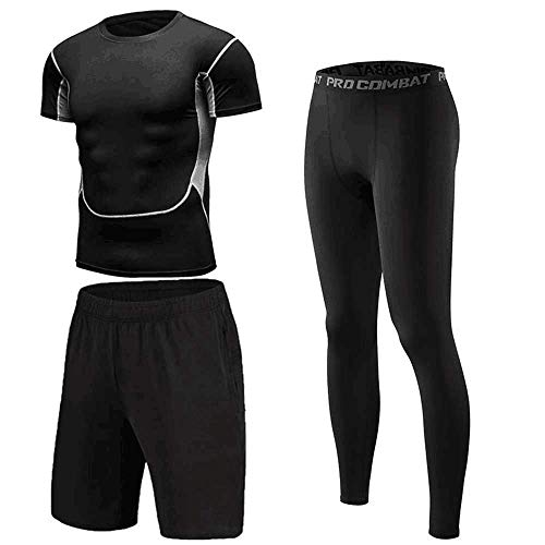 Bsadne 3 Men's Fitness Suit, Sportswear, Bottom Shirts + Loose Shorts + Tight Pants for Running (3 Pieces Short-A, L) (For Men Sportswear)